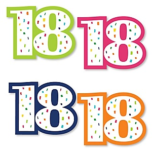 18th Birthday - Cheerful Happy Birthday - DIY Shaped Colorful Eighteenth Birthday Party Cut-Outs - 24 ct