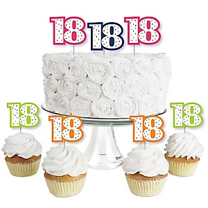 18th Birthday - Cheerful Happy Birthday - Dessert Cupcake Toppers - Colorful Eighteenth Birthday Party Clear Treat Picks - Set of 24