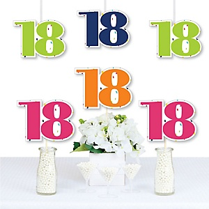 18th Birthday - Cheerful Happy Birthday - Decorations DIY Colorful Eighteenth Birthday Party Essentials - Set of 20