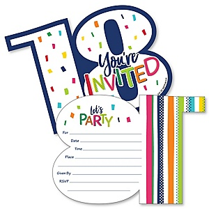 18th Birthday - Cheerful Happy Birthday - Shaped Fill-In Invitations - Colorful Eighteenth Birthday Party Invitation Cards with Envelopes - Set of 12