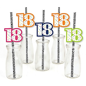 18th Birthday - Cheerful Happy Birthday - Paper Straw Decor - Colorful Eighteenth Birthday Party Striped Decorative Straws - Set of 24