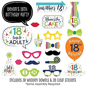 18th Birthday - Cheerful Happy Birthday - 20 Piece Colorful Eighteenth Birthday Party Photo Booth Props Kit