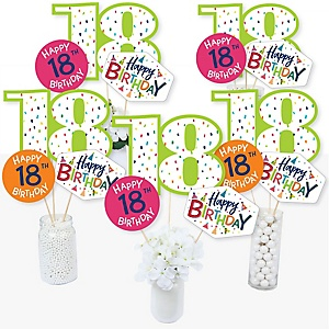 18th Birthday - Cheerful Happy Birthday - Colorful Eighteenth Birthday Party Centerpiece Sticks - Table Toppers - Set of 15