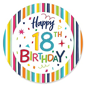 18th Birthday - Cheerful Happy Birthday - Colorful Eighteen Birthday Party Theme