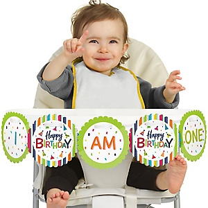 Cheerful Happy Birthday 1st Birthday - I Am One - Colorful First Birthday High Chair Banner