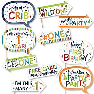 Funny 1st Birthday - Cheerful Happy Birthday - 10 Piece Colorful First Birthday Party Photo Booth Props Kit