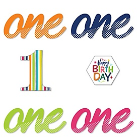 1st Birthday - Cheerful Happy Birthday - DIY Shaped Colorful First Birthday Party Cut-Outs - 24 ct