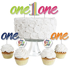 1st Birthday - Cheerful Happy Birthday - Dessert Cupcake Toppers - Colorful First Birthday Party Clear Treat Picks - Set of 24