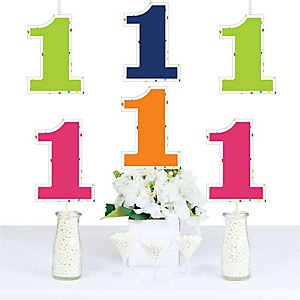 1st Birthday - Cheerful Happy Birthday - Decorations DIY Colorful First Birthday Party Essentials - Set of 20