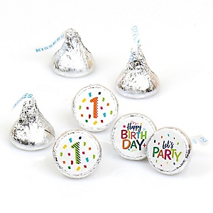 1st Birthday - Cheerful Happy Birthday - Round Candy Labels Colorful First Birthday Party Favors - Fits Hershey's Kisses - 108 ct