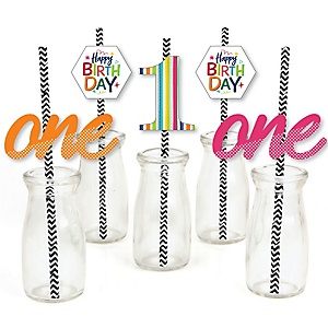 1st Birthday - Cheerful Happy Birthday - Paper Straw Decor - Colorful First Birthday Party Striped Decorative Straws - Set of 24