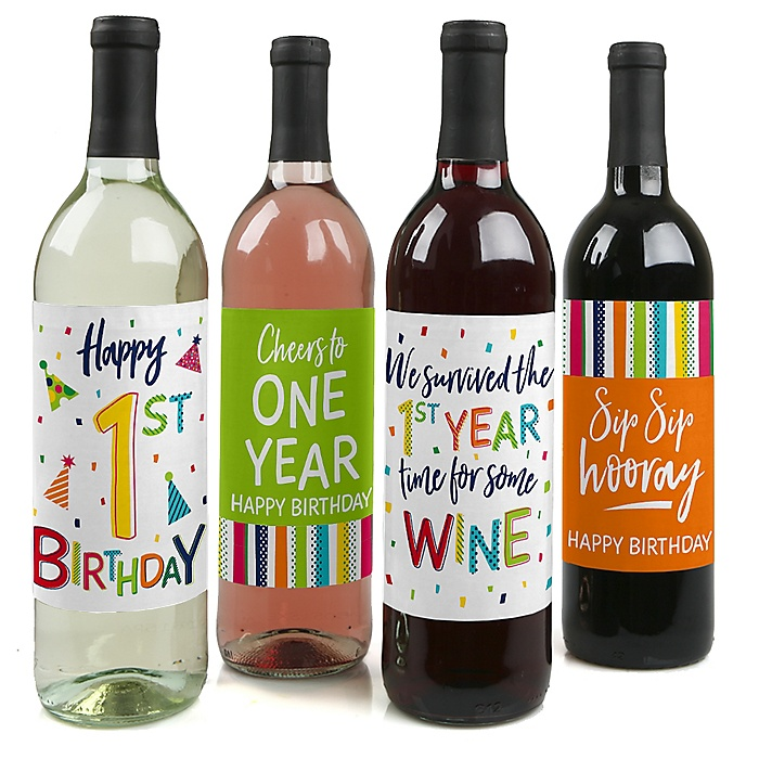 1st Birthday - Cheerful Happy Birthday - Decorations for Women and Men - Wine Bottle Label Colorful First Birthday Party Gift - Set of 4