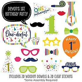 1st Birthday - Cheerful Happy Birthday - 20 Piece Colorful First Birthday Party Photo Booth Props Kit