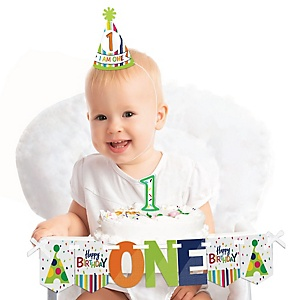 Cheerful Happy Birthday 1st Birthday - Colorful First Birthday Boy or Girl Smash Cake Decorating Kit - High Chair Decorations