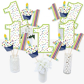 1st Birthday - Cheerful Happy Birthday - Colorful First Birthday Party Centerpiece Sticks - Table Toppers - Set of 15