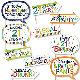 Funny 21st Birthday - Cheerful Happy Birthday - 10 Piece Colorful Twenty-First Birthday Party Photo Booth Props Kit