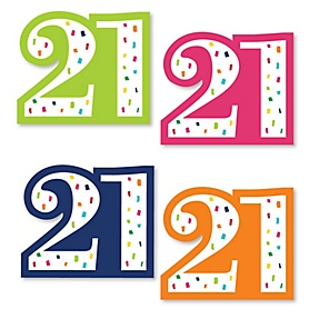 21st Birthday - Cheerful Happy Birthday - DIY Shaped Colorful Twenty-First Birthday Party Cut-Outs - 24 ct