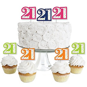 21st Birthday - Cheerful Happy Birthday - Dessert Cupcake Toppers - Colorful Twenty-First Birthday Party Clear Treat Picks - Set of 24