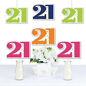 21st Birthday - Cheerful Happy Birthday - Decorations DIY Colorful Twenty-First Birthday Party Essentials - Set of 20