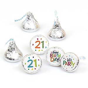21st Birthday - Cheerful Happy Birthday - Round Candy Labels Colorful Twenty-First Birthday Party Favors - Fits Hershey's Kisses - 108 ct