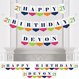 21st Birthday - Cheerful Happy Birthday - Personalized Colorful Twenty-First Birthday Party Bunting Banner & Decorations