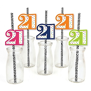 21st Birthday - Cheerful Happy Birthday - Paper Straw Decor - Colorful Twenty-First Birthday Party Striped Decorative Straws - Set of 24