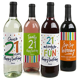 21st Birthday - Cheerful Happy Birthday - Decorations for Women and Men - Wine Bottle Label Colorful Twenty-First Birthday Party Gift - Set of 4