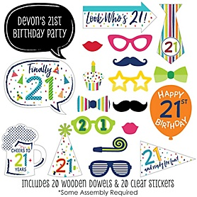 21st Birthday - Cheerful Happy Birthday - 20 Piece Colorful Twenty-First Birthday Party Photo Booth Props Kit