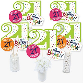 21st Birthday - Cheerful Happy Birthday - Colorful Twenty-First Birthday Party Centerpiece Sticks - Table Toppers - Set of 15