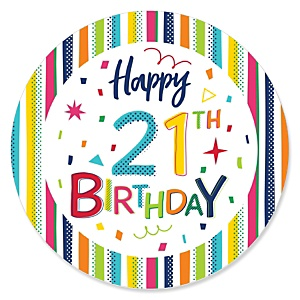 21st Birthday - Cheerful Happy Birthday - Colorful Twenty-First Birthday Party Theme