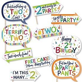 Funny 2nd Birthday - Cheerful Happy Birthday - 10 Piece Colorful Second Birthday Party Photo Booth Props Kit