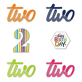 2nd Birthday - Cheerful Happy Birthday - DIY Shaped Colorful Second Birthday Party Cut-Outs - 24 ct