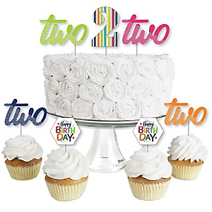 2nd Birthday - Cheerful Happy Birthday - Dessert Cupcake Toppers - Colorful Second Birthday Party Clear Treat Picks - Set of 24
