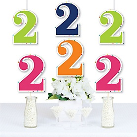 2nd Birthday - Cheerful Happy Birthday - Decorations DIY Colorful Second Birthday Party Essentials - Set of 20