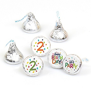 2nd Birthday - Cheerful Happy Birthday - Round Candy Labels Colorful Second Birthday Party Favors - Fits Hershey's Kisses - 108 ct