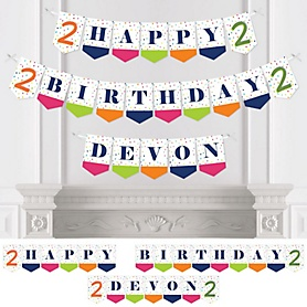 2nd Birthday - Cheerful Happy Birthday - Personalized Colorful Second Birthday Party Bunting Banner & Decorations