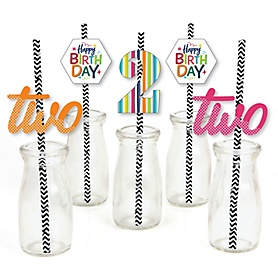 2nd Birthday - Cheerful Happy Birthday - Paper Straw Decor - Colorful Second Birthday Party Striped Decorative Straws - Set of 24
