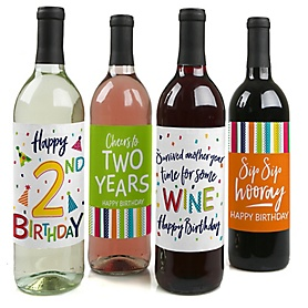 2nd Birthday - Cheerful Happy Birthday - Decorations for Women and Men - Wine Bottle Label Colorful Second Birthday Party Gift - Set of 4
