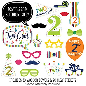 2nd Birthday - Cheerful Happy Birthday - 20 Piece Colorful Second Birthday Party Photo Booth Props Kit