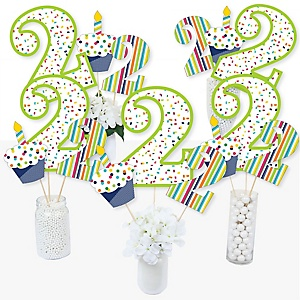 2nd Birthday - Cheerful Happy Birthday - Colorful Second Birthday Party Centerpiece Sticks - Table Toppers - Set of 15