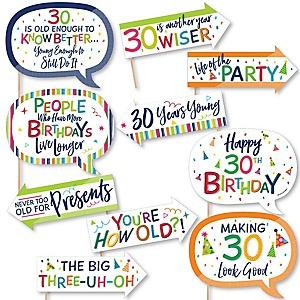 Funny 30th Birthday - Cheerful Happy Birthday - 10 Piece Colorful Thirtieth Birthday Party Photo Booth Props Kit