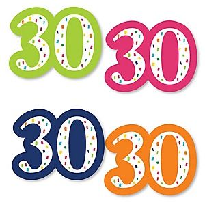 30th Birthday - Cheerful Happy Birthday - DIY Shaped Party Paper Cut-Outs - 24 ct