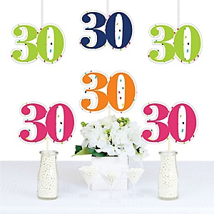 30th Birthday - Cheerful Happy Birthday - Decorations DIY Colorful Thirtieth Birthday Party Essentials - Set of 20