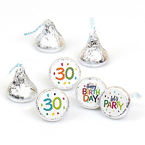 30th Birthday - Cheerful Happy Birthday - Round Candy Labels Colorful Thirtieth Birthday Party Favors - Fits Hershey's Kisses - 108 ct