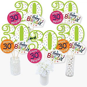30th Birthday - Cheerful Happy Birthday - Colorful Thirtieth Birthday Party Centerpiece Sticks - Table Toppers - Set of 15