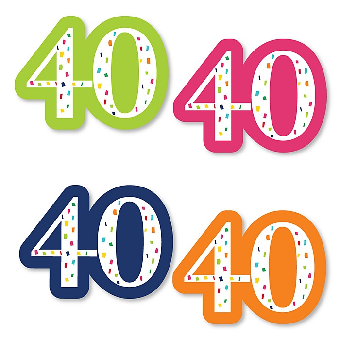 40th Birthday - Cheerful Happy Birthday - DIY Shaped Party Paper Cut-Outs - 24 ct