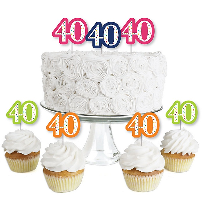 40th Birthday - Cheerful Happy Birthday - Dessert Cupcake Toppers - Colorful Fortieth Birthday Party Clear Treat Picks - Set of 24