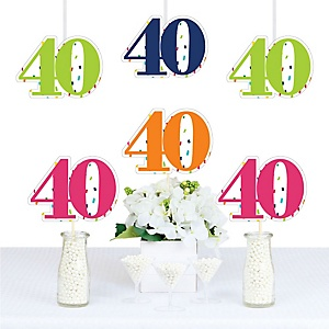 40th Birthday - Cheerful Happy Birthday - Decorations DIY Colorful Fortieth Birthday Party Essentials - Set of 20
