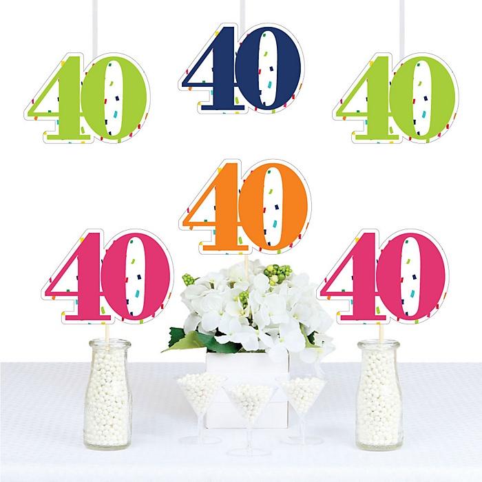 40th Birthday - Cheerful Happy Birthday - Decorations DIY Colorful Fortieth Birthday Party Essentials - Set of 20
