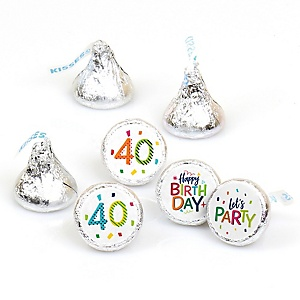 40th Birthday - Cheerful Happy Birthday - Round Candy Labels Colorful Fortieth Birthday Party Favors - Fits Hershey's Kisses - 108 ct